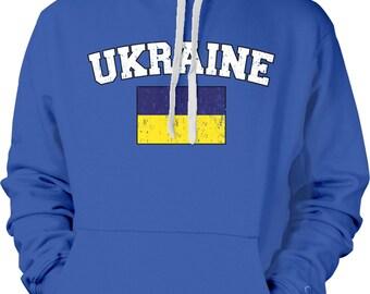 Threadrock Men/'s Ukraine Flag Hoodie Sweatshirt Ukrainian Kiev Europe