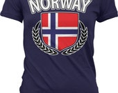 Norway Ladies T-shirt, Norway Flag Crest With Olive Branches, Norway Flag Shirt, Junior and Women 39 s Norway T-shirts GH_00258
