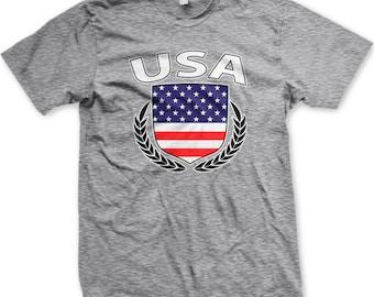 USA Flag Shield American America Peace Olive Branch Patriotic New Men/'s T-shirt