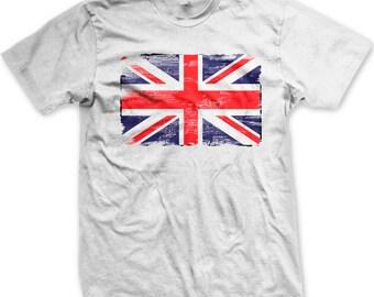 5863e569 Vintage Great Britain Flag Men's T-shirt, Faded Distressed British Flag,  Flag of Great Britain, Union Jack, Men's G.B. T-shirts GH_00448_tee