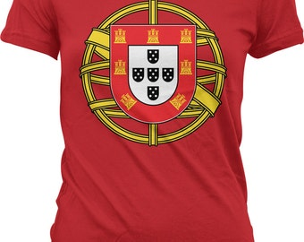 89f06e22 Portugal Coat of Arms Ladies T-shirt, Coat of arms of Portugal, Portuguese  Flag Emblem, Junior and Women's Portugal T-shirts GH_00178