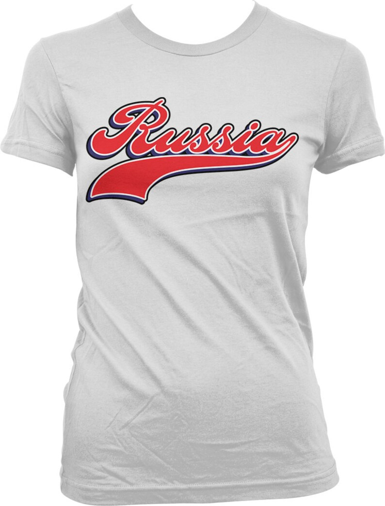 5573f0f3e Russia Ladies T-shirt Russia Script Font Baseball Style | Etsy