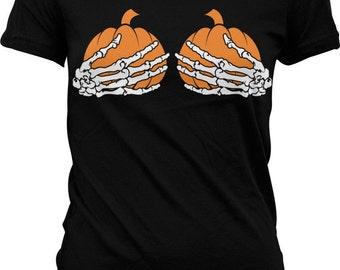 Pumpkin Boobs Women's T-shirt, WOmens Halloween Shirt, Cheap Costume T-shirt, Tshirt, Happy Halloween TShirt - GH_01105