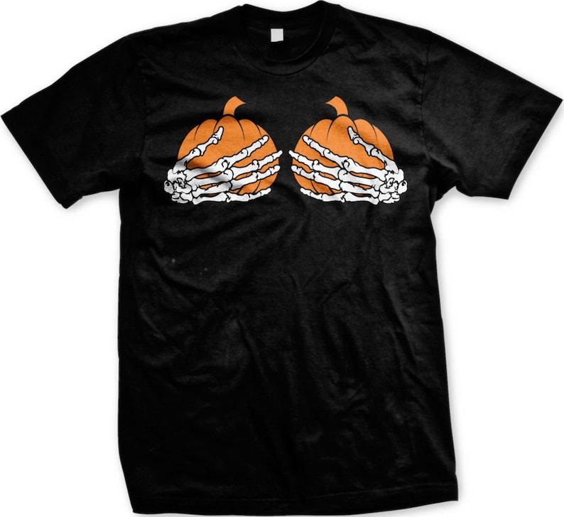 f1b0d1f8 Pumpkin Boobs Men's T-shirt Halloween Costume Shirt | Etsy