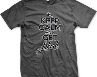 Keep Calm et obtenir encrée Tattoo T-shirt homme, chemise à la Machine de tatouage, obtenez tatouage encré chemise, pour hommes de tatouage GH_00856 T-shirts