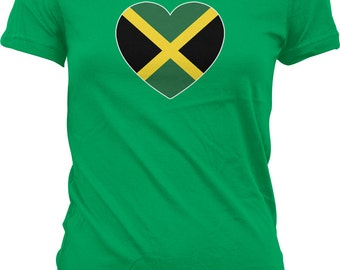 Jamaican Heart Flag Ladies T-shirt, Jamaica Heart Shaped Flag, Love Jamaica, Junior and Women's Jamaica T-shirts GH_00125