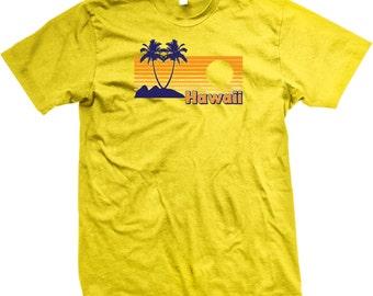 Hawaii Palm Trees Beaches and Sunset. Hawaii. Beach. Relaxation. Vacation. Fun. Sand. Ocean. Island. Hawaiin Men's T-shirt GH_GH_01858_tee