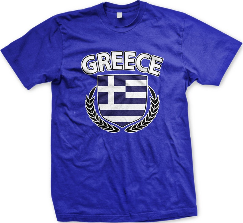 2e4130b2e Greece Flag Crest With Olive Branches Men's T-shirt Greek | Etsy