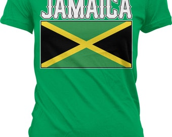 Jamaica Flag Ladies T-shirt, Jamaican Flag, Jamaican Pride, Junior and Women's Jamaica Flag T-shirts GH_01560