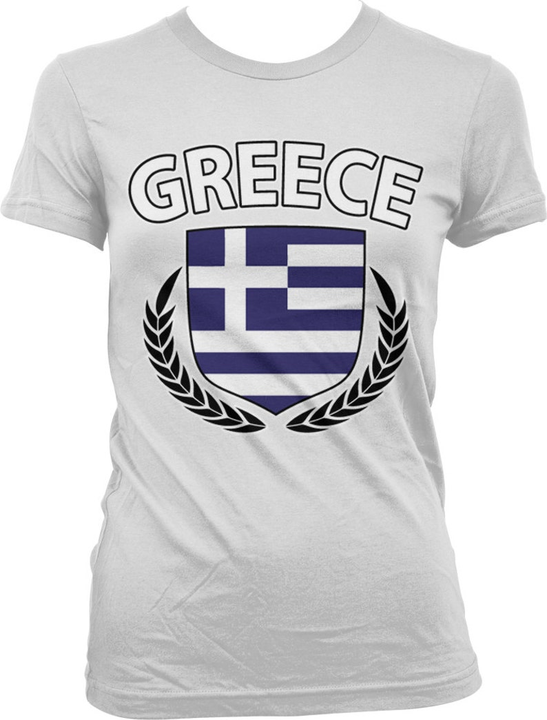 143d37493 Greek Flag Crest With Olive Branches Ladies T-shirt Greece | Etsy