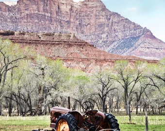 Rustic Tractor and Red Mountain Color Photography Wall Art Digital Download