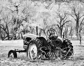 Rustic Tractor in Field Black And White Photography Wall Art Digital Download