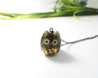 Moss Cat Necklace, Ceramic Cat Jewelry, Gift for Women, Forest Lover