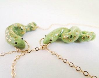 Spring Green Snake Necklace Green Gold Jewelry Green Animal Pendant  Snake Jewelry Ceramic Cute Snake Pendant Porcelain Snake Lover Gift