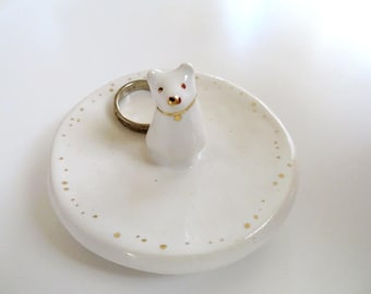Dog Ring Dish Puppy Trinket Dish Ring Holder Puppy Dog Lover Gift Dog Mom Ceramic Ring Dish Jewelry Holder Cute Dog White Gold Porcelain Dog