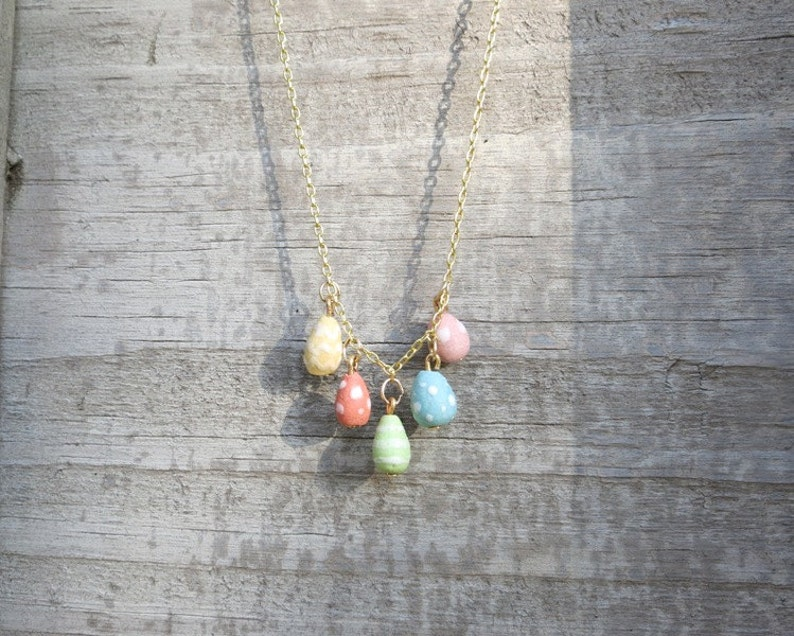 Easter Egg necklace Pastel Charm Spring Jewelry Ceramic Easter Jewelry Gift for Woman Tiny Egg Pendant
