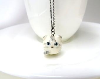 Scottish Fold Cat necklace White Tabby Kitten Charm Ceramic Jewelry Cat Lover Gift Scott Fold Jewelry Tabby Cat