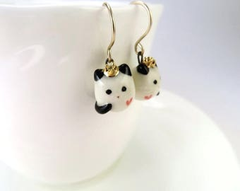 Queen Cat Earrings Crazy Cat Lady Gift Cat Jewelry Ceramic Jewelry Tiny Cat Princess Gold Tiara Red Heart Porcelain Jewelry Cute Cats Rule
