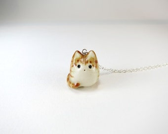 Orange Tabby Cat Necklace Tabby Jewelry Cat Jewelry Gift Ginger Cat Orange Ceramic Cat Charm Fat Cat Necklace Porcelain Orange Stripe Cat