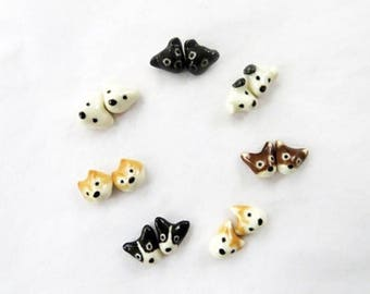 Tiny Dog Earrings Dog Lover Gift Puppy Earrings White Dog Black Dog Brown Dog Black White Tiny Stud Earrings Dog Jewelry Gift Porcelain Stud