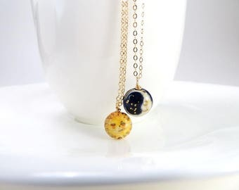 Sun Moon Necklace Celestial Jewelry Sun Necklace Crescent Charm Sun Gold Jewelry Porcelain Whimsical Tiny Necklace Gift Sun Lover Moon