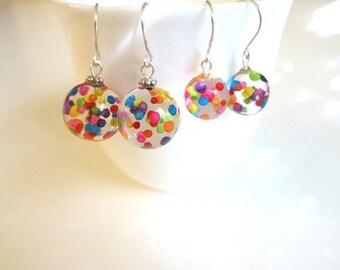 Resin Jewelry Fun Earrings Jewelry Gift Rainbow Earring Colorful Sprinkle Earring Clear Resin Ball Earring Playful Jewelry