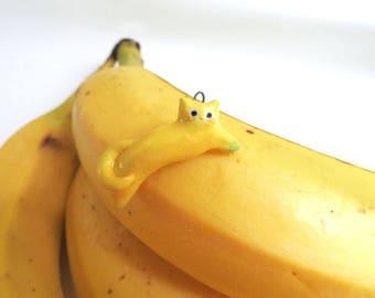 Banana Cat Necklace   Porcelain Necklace Pendant   Fruit Cat   Cat Lover Gift