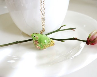 Spring Bird Necklace Green Bird Flower Bird Gift Ceramic Jewelry Spring Green Easter Bird Green Gold Fat Bird Spring Gift Round Bird Charm