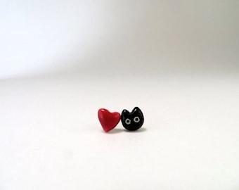 Black Cat Red Heart Tiny Stud Earrings Black Cat Lover Gift Cat Heart Jewelry Porcelain Stud Ceramic Earring Love Cat Jewelry Tiny Earring