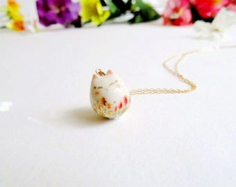 Happy Cat Necklace Flower Cat Garden Charm Flower Cat Smile Gift Tiny Cat Lover Gift Cat Lady Happy Gift Porcelain Pendant Ceramic Jewelry