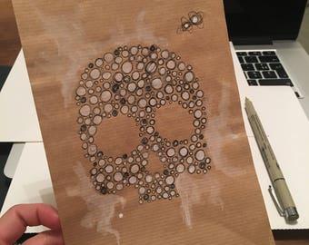 Skull. Original drawing. Ink and watercolor. Cloé 2016