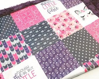 Purple kitten baby Designer Minky baby blanket