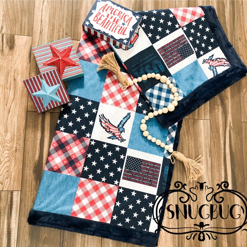 USA America freedom designer Minky baby blanket