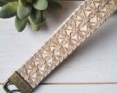 Boho chic keychain wristlet key fob jute braided trim cotton webbing antiqued brass hardware unique gifts