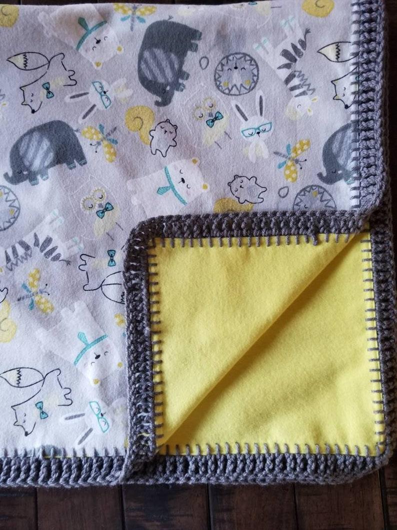 Handmade 2 Layered Flannel Baby Boy Blanket With Crochet Edge Etsy