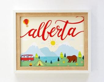 Let's Camp Alberta | Art Print | Handdrawn Illustration Print | Wall Art | 8x10 | Alberta, Canada