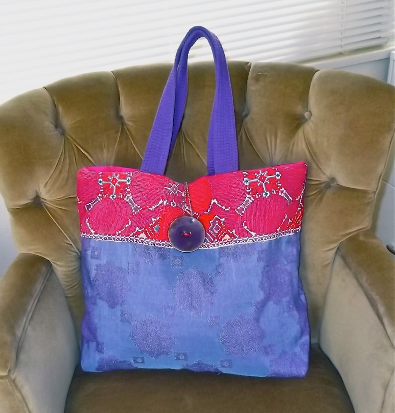 Beautiful purple and blue tote bag with Mexican embroidery