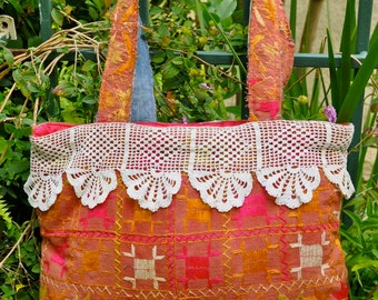 Recycled Tote Bag with Indian Charm and a Vintage Twist!