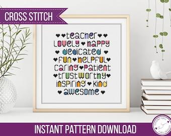 Teacher Gift Cross Stitch Name