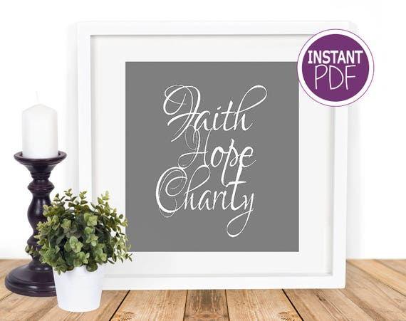 Faith Hope Charity Papercut Template