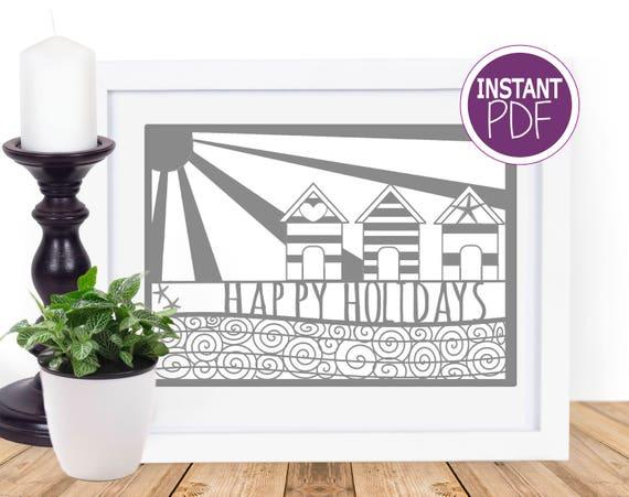 Commercial Papercut Template Pattern stencil - Holiday template, paper cut template, Beach Holiday