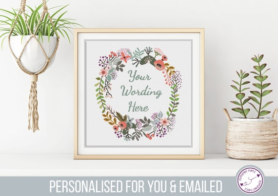 Custom Modern Floral Cross Stitch with your Words