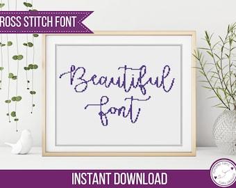 Cross Stitch Alphabet - Cursive Cross Stitch PDF, Beautiful Alphabet by Peppermint Purple