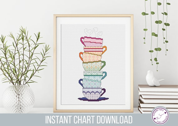 Blackwork Teacups Pattern