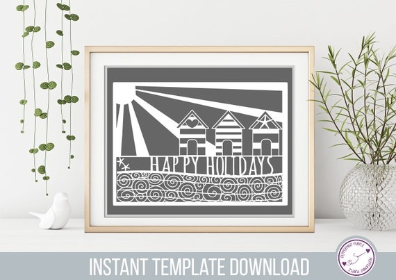 Commercial Papercut Template Pattern stencil - Holiday template, paper cut template, Beach Holiday