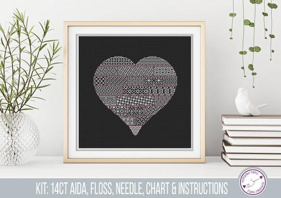 Hearts /& Flowers Blackwork Embroidery Kit