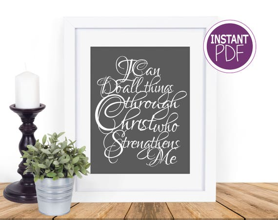 I can do all things through Christ who strengthens me Papercut Template
