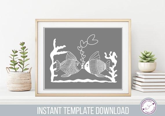 Kissing Fish Papercut Template