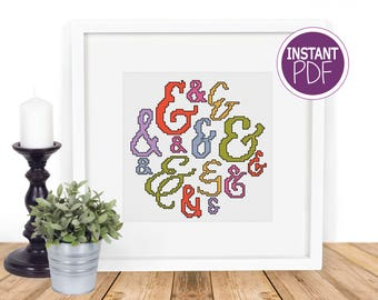 Easy Cross Stitch Pattern - Modern Ampersand DIY Hoop Art Chart by Peppermint Purple