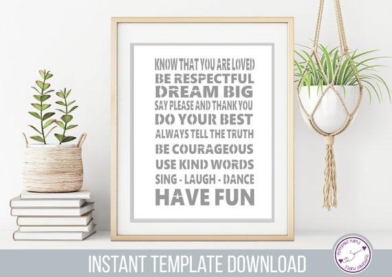 Kids Rules Papercut Template